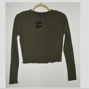 Never Worn! Topshop Olive Cropped Long Sleeve
